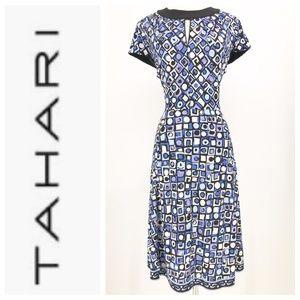 Tahari Blue Multi Geo Print Short Sleeve Dress